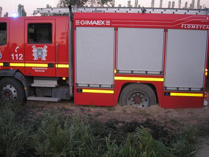 Un camión de bomberos se quedo