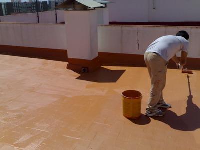Pintat amb Sika Fill i geotextil entre capes